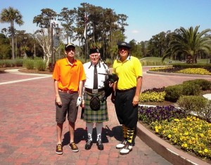 Scottish Bagpiper Bill Sloan played a little for us at TPC Sawgrass... maybe the knickers aren't too far out of place!