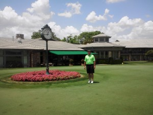 On the practice putting green near the Rolex clock in front of the Lodge, the warn andf friendly confines of Mr. Palmer's Bay Hill!