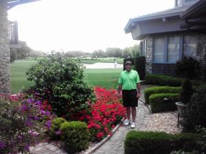 In Winnie Palmer's Hummingbird Garden.