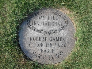 "Robert Gamez ""walk-In"" eagle plaque in 18th fairway from 1990 when he beat Greg Norman by one stroke."