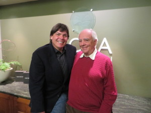With Robert Trent Jones, Jr. at the NCGA headquarters at Poppy Hills Golf Course.