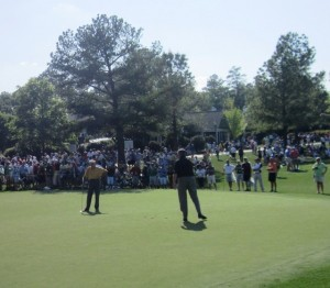 Jack and Ed frolicking on the practice putting green at the 2012 Masters right before the Wednesday par-3 contest.