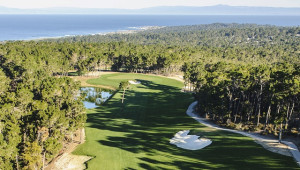 Aerial view of the 10th hole at Poppy Hills. Photograph courtesy of Joann Dost/NCGA.