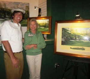 Author in Vecci Fashions knickers at 2012 Masters with linda Hartough. The azelas in her painting of the 13th were in bloom!