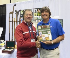 With author Dick McDonough with book in hand at the 2014 PGA Show.