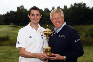 Author Ed Hodge with Ryder Cupper Extraordinaire Colin Montgomerie with that piece of hardware the USA desperately wants to win...it has been 6 years since Valhalla!