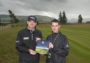 Author Ed Hodge with Paul Lawrie, member of the 2014 Euro team who won his Sunday singles match against Brandt Snedeker.