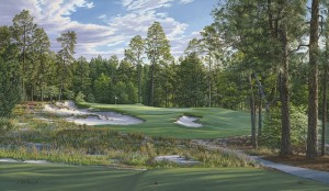 The 9th at Pinehurst No. 2 for the 2014 U.S. Open is Linda Hartough's 25th consecutive creation for the U.S.G.A. Image is property of and used with permission of Linda Hartough.