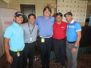 With Puerto Rican golfers, Erick Morales, Max Alverio, & Miguel Suarez and retired Texas Ranger baseball player (in red shirt) Ivan Rodriguez (golfer Rafael Campos not shown).