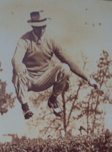 Sam Snead hopping over a hedge demonstrating his power & flexibility! Photo Credit: The Greenbrier