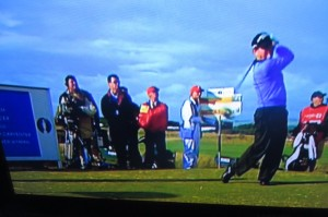 That's me in the background watching Tom Watson tee off on the 17th in the playoff with Stewart Cink. Photo Credit: The Golf Channel.