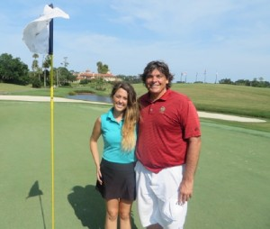 With Beverage Cart Attendant Mary Dale on the 3rd green of the Stadium Course during my latest round at TPC Sawgrass.