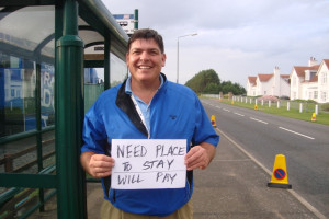 'Need Place to Stay, Will Pay' sign did the trick. Or was it my friendly smile?